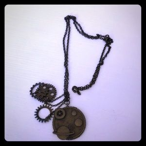 Vintage look Bronze Long Charms Necklace!